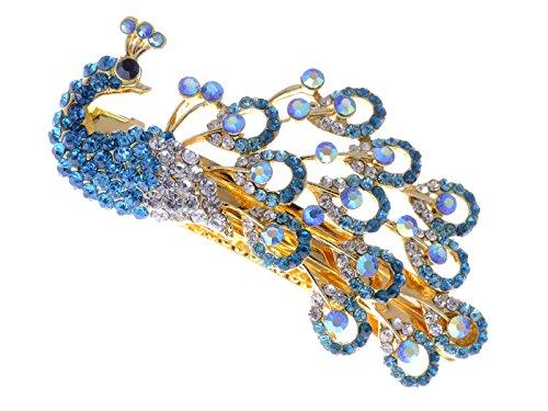 Alilang Womens Golden Tone Sapphire Blue Colored Rhinestones Peacock Bird Hair Clip