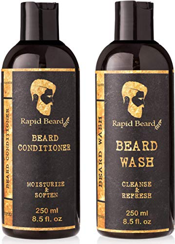 Beard Shampoo and Beard Conditioner Wash & Growth kit for Men Care - Softener & Moisturizer for Hydrating, Cleansing and Refreshing Beard and Mustache Gift Set (Classic, 250ml (8.5 fl oz))