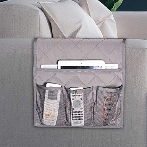 Zafit Sofa Armrest Organizer, Non-Slip Armchair Caddy for Cell Phone, Magazine, Books, Ipad, TV Remote Control (13''x44.5'', Grey)