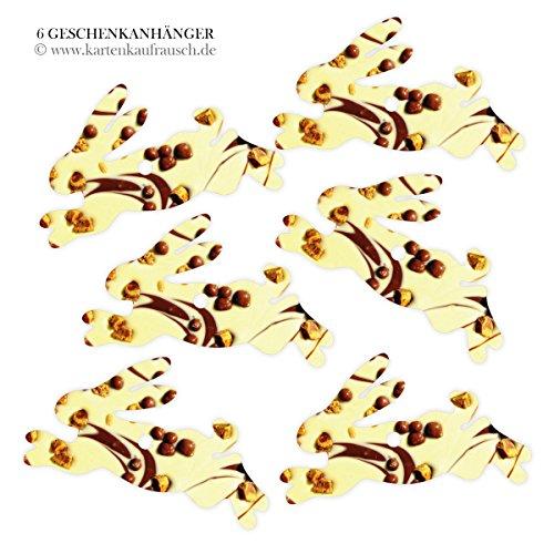 Kartenkaufrausch 6 lekkere cadeauhangers gekleurd, decoratieve slingers hanger met chocolade foto - in haasvorm 11,5 x 7 cm • om cadeaus mooier te geven