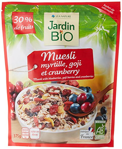 Jardin Bio Muesli Myrtilles Goji/Cranberries 30% de Fruits Biologique 375 g - Lot de 3