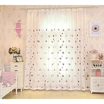 Amazon De Lactraum Vorhang Kinderzimmer Madchen Transparent Weiss Mit Osen Bestickt Herz Voile 145 X