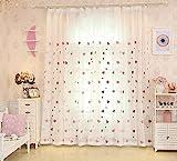 Lactraum Vorhang Kinderzimmer Mädchen Transparent Weiß mit Ösen Bestickt Herz Voile 100 x 245cm