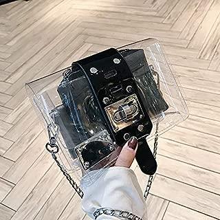 Fashion Single-Shoulder Bags Leisure Fashion Transparent Shoulder Bag Messenger Bag Handbag (Black) (Color : Black)