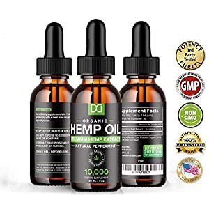 (2 Pack) 10000MG Hemp Oil for Pain Relief Anxiety Sleep Mood Stress 20,000mg Total - Aceite de Cáñamo, l'huile de chanvre, Immune Support - Best Pure Natural Organic Hemp Seed Extract Tincture Drops