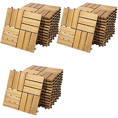 Casaria Holzfliesen FSC®-zertifiziertes Akazienholz 3m² Fliese Akazie Mosaik 30x30cm Klicksystem zuschneidbar Terrasse