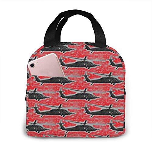 Bolsa de almuerzo de helicóptero negra para mujeres, niñas, niños, bolsa de picnic aislada, enfriador térmico, bolsa grande para preparación de comidas, linda bolsa grande a prueba de fugas,