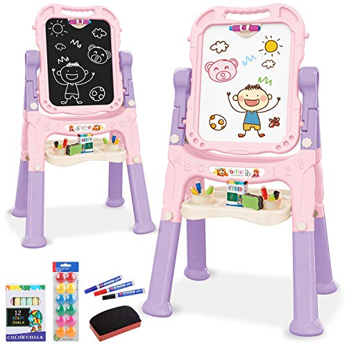The Magic Toy Shop Kids Folding Double Sided Magnetic Drawing Board Easel with Accessories - Colour Chalk, Eraser (Pink/Lilac)