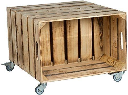 2er Table en boîtes de fruits Elfriede avec Roulettes Masse 60 x 54 x 42cm Table basse Tableau canapé table Boîte à vin Boîte en bois étagère Caisse de fruits Altisch de pluie Table de salon - flammé