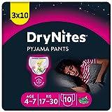 DryNites Huggies Couches de nuit absorbantes pour pipi au lit, pour filles de 4 à 7 ans (17 à 30 kg), 3 x 10 = 30 culottes, boîte mensuelle