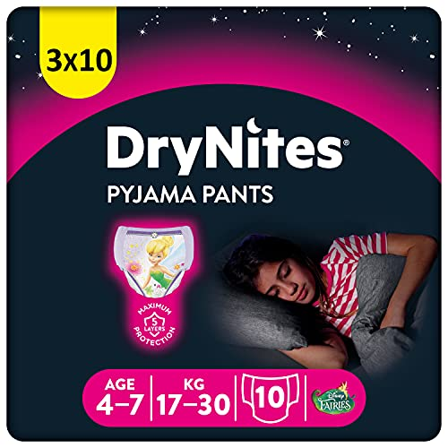 Huggies DryNites Couches de Nuit absorbantes pour l'énurésie, pour filles de 4 à 7 ans (17-20 kg), 3 x 10 = 30 couches, Boîte Mensuelle