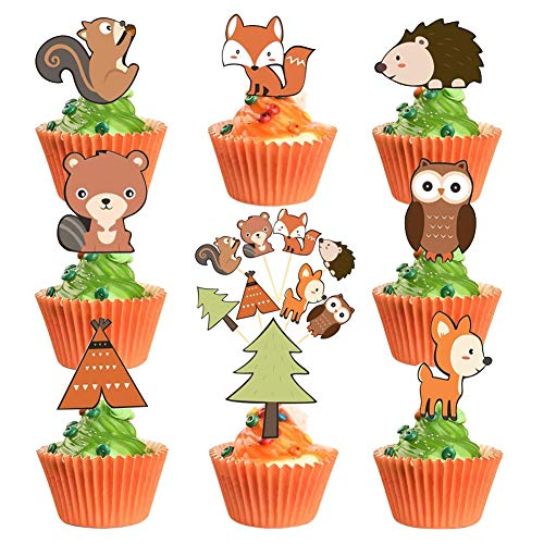 JAHEMU Tortendeko Cake Topper Geburtstag Kuchendeko Tier Kuchen Topper Dessert Cupcake Dekoration für Kinder Geburtstag Party 48 Stück