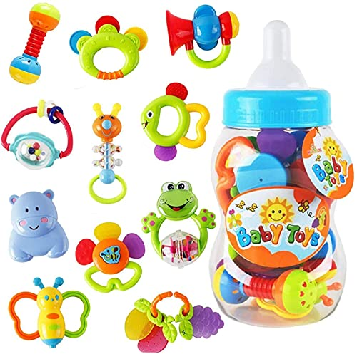 Rattle Teether Set Baby Toys - Wishtime 9pcs Shake and Grap Baby...