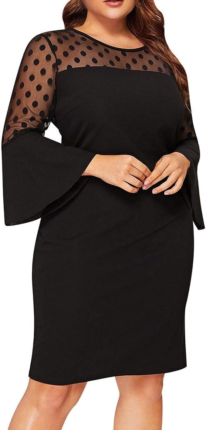 Ansenesna Abendkleider Damen Grosse Grossen Langarm Trompetenarmel Elegant Kleid Frauen Knielang Kleiderfur Mollige Amazon De Bekleidung