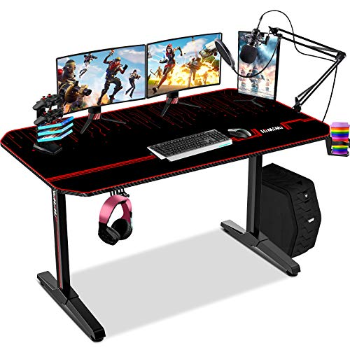 Himimi Scrivania Da Gioco 55'' Gaming Desk , 140x61x76 cm Scrivania PC Gaming Ergonomica , Da Tavolo con Tappetino Per Mouse, Gestione dei Cavi, Portabicchieri e Gancio per Cuffie, Maniglia di gioco