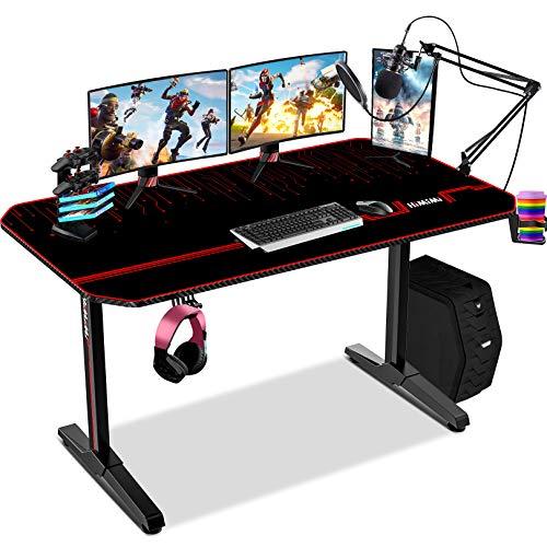 Himimi 55' Mesa Gaming Desk, Ergonómica Grande PC Gaming Escritorios 140x61x76 cm, Computer Computadora Gamer Pro Tablas con Alfombrilla de ratón, Portavasos y Gancho para Auriculares, Mango de juego