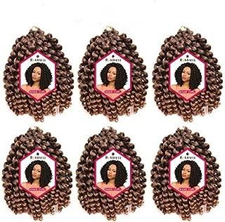 Roktress 6 Packs 8 Inch Jamaican Bounce Crochet Hair Jumpy Wand Curl Crochet Hair African Ombre Kanekalon Synthetic Crochet Braiding Hair Extensions For Black Women (8