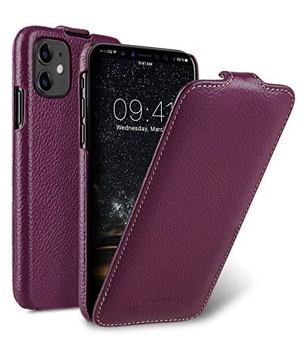 MELCKO Hülle passend für Apple iPhone 11 (6,1 Zoll), Handyhülle mit beschichtetem Leder, Flip-Hülle, Schutzhülle klappbar, dünne Handy-Tasche, Slim Cover, Lila, Violett