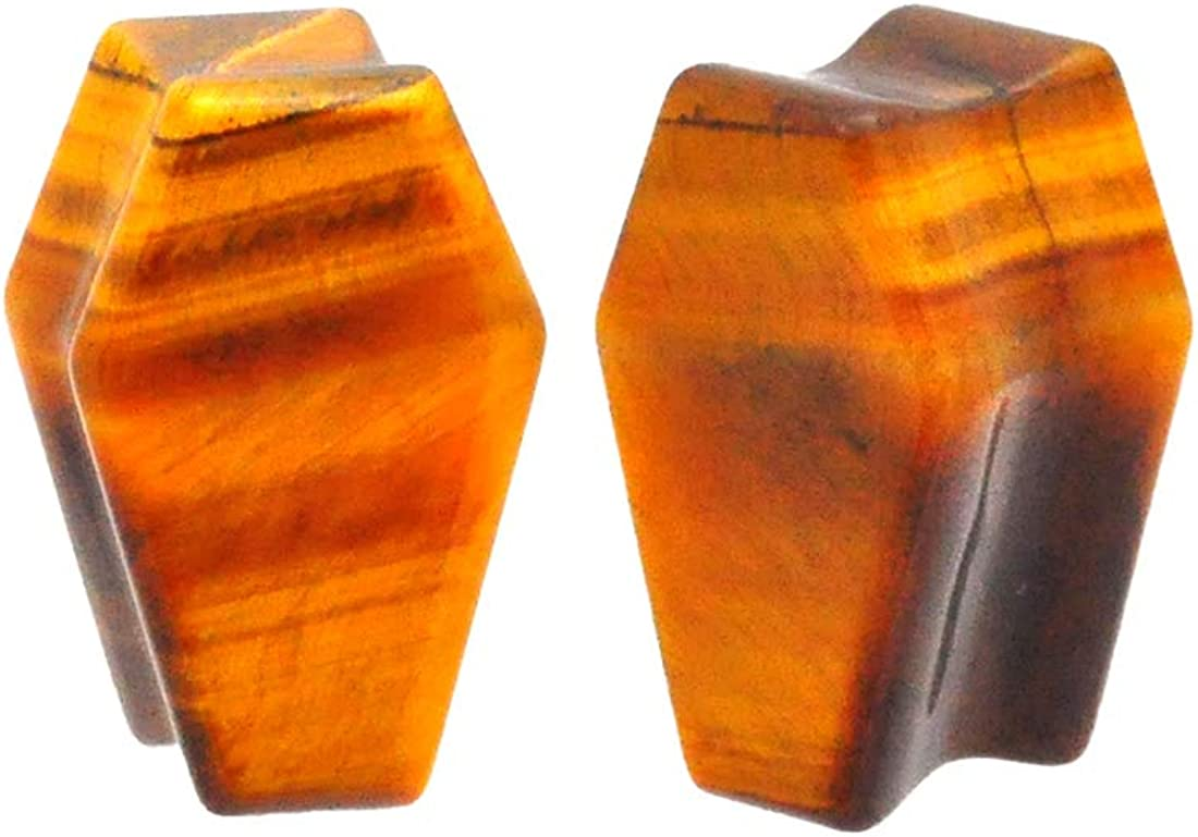 Mystic Metals Body Jewelry Pair of Tiger Eye Stone Coffin Shaped Double Flare Plugs (STN-639)