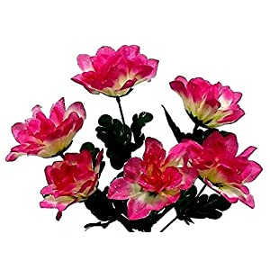 Hot Pink & Cream 6 Head 3″ Dahlia Artificial Silk Flowers Wedding Bouquet Centerpiece Fake Faux, for Wedding Supplies