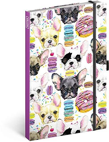 Notizbuch mit Gummiband liniert - Notizblock für Frauen und Mädchen - Tagebuch Journal Notebook für Schule und Arbeit (Bulldoggen)