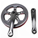 QXYOGO Bielas MTB Single Speed CNC Bicicleta Plegable Bielas Chainring aleación de Aluminio de manivela Conjunto de Platos y bielas Bicicleta Plegable 5 (Size : 36T Black)