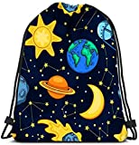 N / A Mochilas con cordón Mochila Space Seamles de Dibujos Animados Bolsas de Viaje para niños Bolsas de Hombro Mochila Mochilas 36 x 43cm / 14.2 x 16.9 Pulgadas