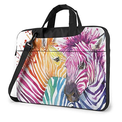 Rainbow Zebra Laptop-tas Laptop-schoudertas 15,6 inch, Laptop-hoes draagtas met riem