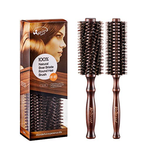 Brosse à cheveux ronde poils en sanglier naturels pour sèche-cheveux - Outil élégant de cheveux de qualité de salon profession pour Cheveux, 2 pièces