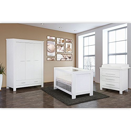 Babyzimmer/Kinderzimmer komplett Enni in Weiß, Komplettset mit grossem Kleiderschrank, Babybett mit Lattenrost, Wickelkommode mit Wickelaufsatz