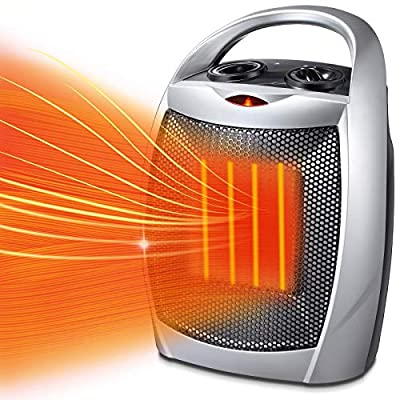 Kismile Small Electric Space Heater for Indoor Use - Ceramic Space Heater for Bedroom,Portable Heater Fan for Office with Adjustable Thermostat and Overheat Protection ETL Listed for Kitchen, 750W/1500W (Silver)