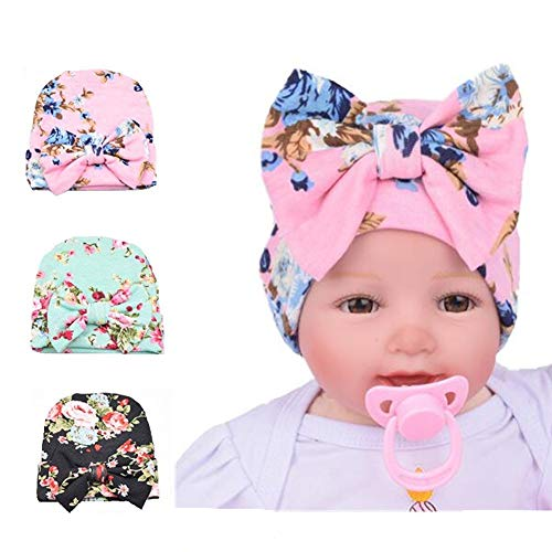 Ademoo Newborn Baby Girls Nursery Beanie Hospital Hat with Bow (3 Pack/ 0-3 Month)