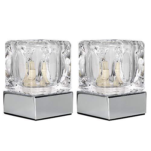MiniSun – Moderne touch tafellampen in ijsblokjesvorm met een verchroomde afwerking en glazen lampenkappen (set van 2) - Ijsblok lampen