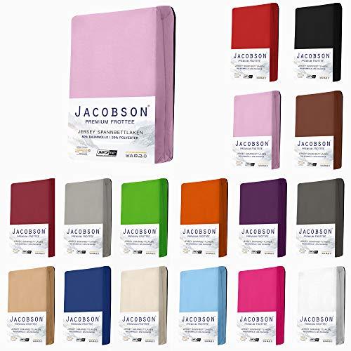 Jacobson Premium FROTTEE Spannbettlaken Spannbetttuch Bettlaken Baumwolle ca. 200g/m² (90x200cm - 100x200cm, Rosa)