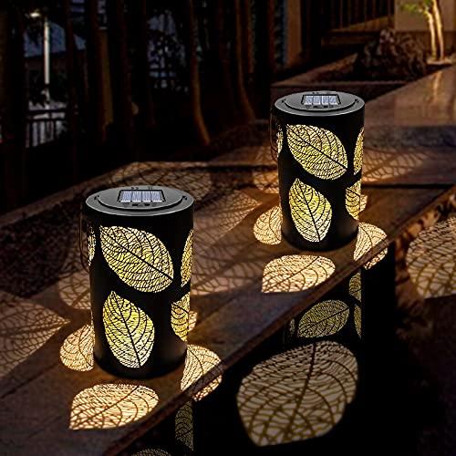 XLLQYY Linterna solar linterna solar colgante al aire libre impermeable hoja solar lámpara decorativa metal jardín mesa lampSolar jardín luz