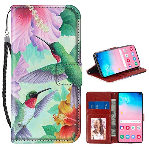 Samsung Galaxy S10 Wallet Case Hawaii Hibiscus Hummingbird PU Leather Full Body Phone Case with Card Slot for Samsung Galaxy S10