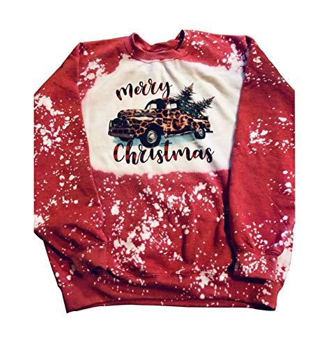 Women Leopard Truck Merry Christmas Sweatshirt Christmas Tree Red Leopard Printed Tie Dye Long Sleeve Shirt (XXL, Red)