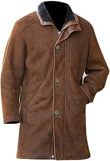 Prime-Fashion Mens Walt Suede Leather Fuax Fur Robert Mire Sheriff Jacket Long Trench Coat