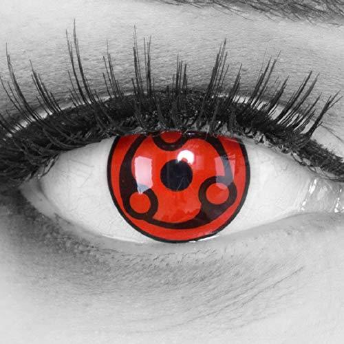 Meralens 1 Paar Farbige Anime Manga Kontaktlinsen Ohne Stärke mit gratis Kontaktlinsenbehälter - Sharingan Eternal Madara Naruto in rot schwarz perfekt zu Hereos of Cosplay, Halloween 12 Monatslinsen