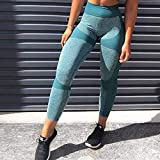B/H Pantalones cómodos Casuales de Yoga Deporte,Pantalones de Yoga de Entrenamiento de Cintura Alta Sexy,Polainas sin Costuras para Trotar-Green_S,Pantalones de Yoga Suave Elastic