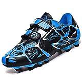 Rokiemen Chaussures de Football Garçon Fille Adolescents Baskets Chaussures FG/AG Compétition Athlétisme Entrainement Chaussures de Foot en Plein Air Bleu EU35