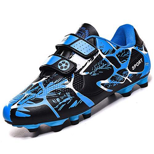 Rokiemen Scarpe da Calcio Bambino FG/AG Professionale Teenager Sportivo all'aperto Scarpe da Allenamento per Calzature da Calcio Unisex Tacchetti Blu EU33