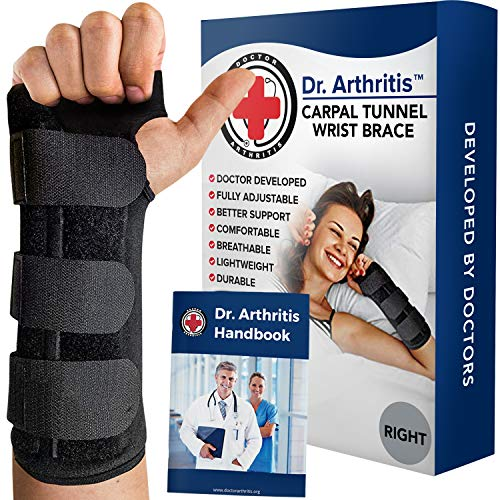 Doctor Developed Carpal Tunnel Wrist Brace Night & Wrist Support & Sleep Brace [Single] (with splint) & Doctor Written Handbook - Fully Adjustable to Fit any Hand (Right)