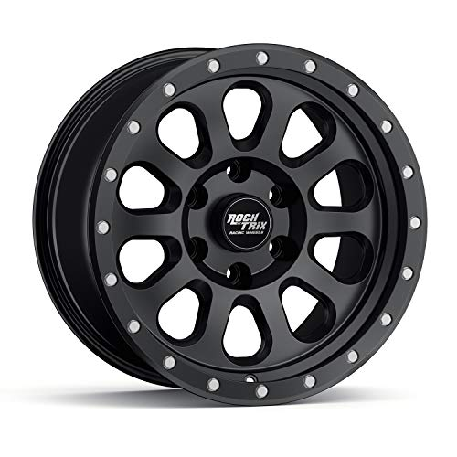 RockTrix RT111 17 inch Wheel Compatible with 2009-2021 Ford F150 (All trims including Raptor) 6x135 Bolt Pattern, 17x9 (-12mm Offset), 87.1mm Bore, Matte Black - 1pc