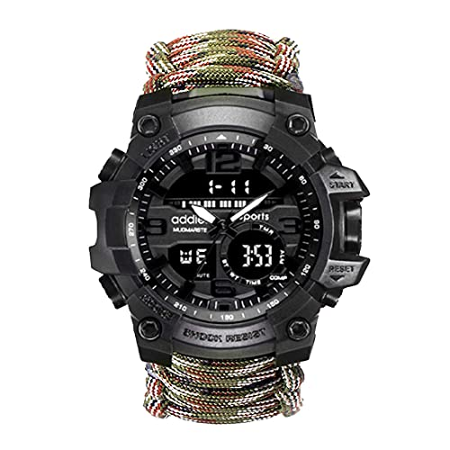 Gifts for Men Dad Husband, Outdoors Survival Watch 6 in 1,Paracord, Fire Starter, Survival Whistle, Compass,Christmas Birthday Valentines Day Gift Ideas for Boy (Camouflage)