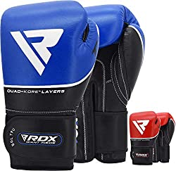Manufactured with Full Grain Cow Hide leather which is resilient and durable. This makes these gloves ideal for sparring and training. The double-stitched seams provide extra sturdiness. Ideal for Boxing, Muay Thai, Kickboxing and more Multiple sheet...