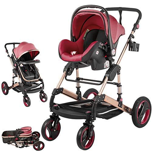 VEVOR Carrito Bebé 3in1 Silla de Paseo 33.5x14.6x25.2 Cochecito de Bebé Carro Bebe Silla de Paseo Ligera Plegado Fácil con una Mano Color Rojo
