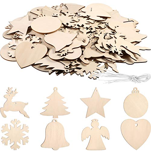 96 Pieces Unfinished Wooden Ornaments Christmas Wood Ornaments Hanging Embellishments Crafts for DIY, Christmas Hanging Decoration with Beautiful Shapes (White Multi-Shape)