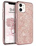 BENTOBEN Funda iPhone 12, Carcasa iPhone 12 Pro Cover Case Ultra Delgada Brillante Purpurina Resistente Silicona Suave PC Dura Cuero Completa Fundas para iPhone 12 / iPhone 12 Pro 6.1''-Bling Oro Rosa
