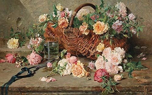 Shenglex Painting by Number Kits DIY Oil Drawing Canvas with Brushes Artwork Paintings gifts Decorations(40X50 cm) frameless--Still-life Roses with basket Wicker Flowers